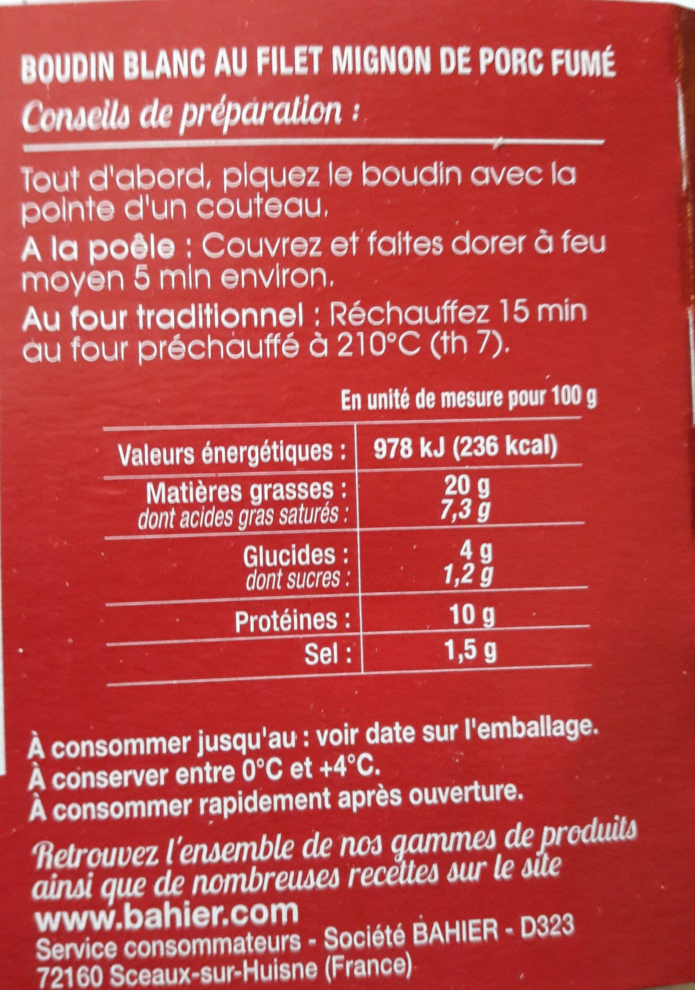 Boudin blanc au filet mignon de porc fumé - Ingrédients - fr