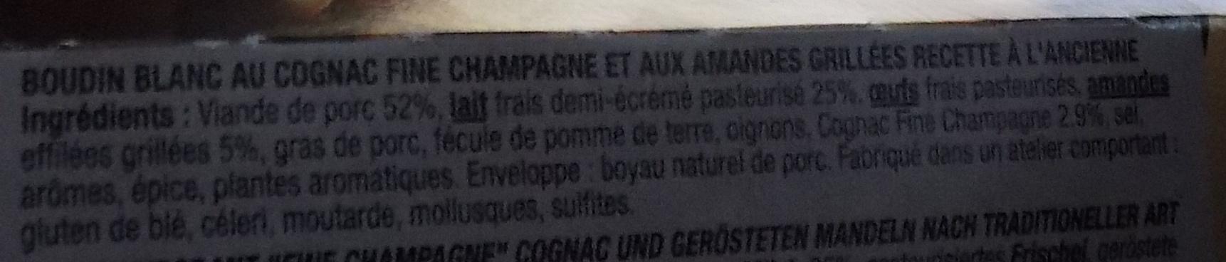 Boudin Blanc Cognac Fine Champagne et Amandes grillées - Ingredients