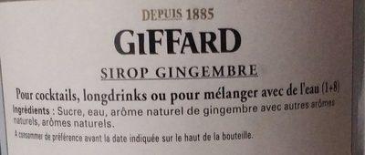 Giffard Ingwer (gingembre) Sirup Maxi - Ingrédients