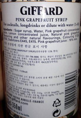 Sirop de pamplemousse rose - Ingrédients