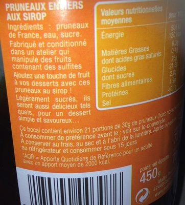 Pruneaux entiers au sirop - Ingrédients - fr