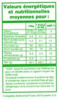 Bananes Séchées - Nutrition facts