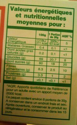 Bananes séchées - Informations nutritionnelles - fr