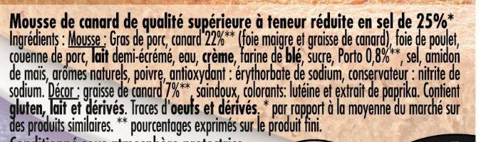 Mousse de Canard au Porto (Taux de Sel réduit - 25 %) - Ingrédients