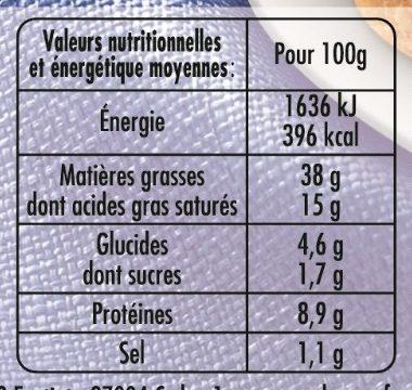 Mousse de Canard au Porto (Taux de Sel réduit - 25 %) - Informations nutritionnelles