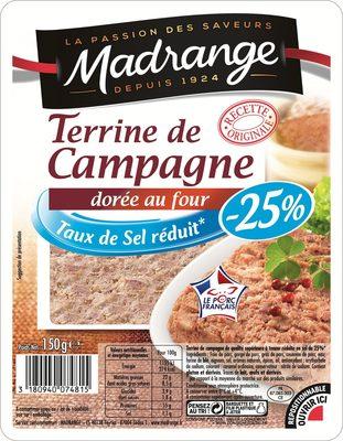 Terrine de Campagne dorée au four taux de sel réduit* (-25%) - Product
