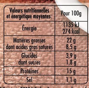 Terrine de Campagne dorée au four taux de sel réduit* (-25%) - Nährwertangaben - fr