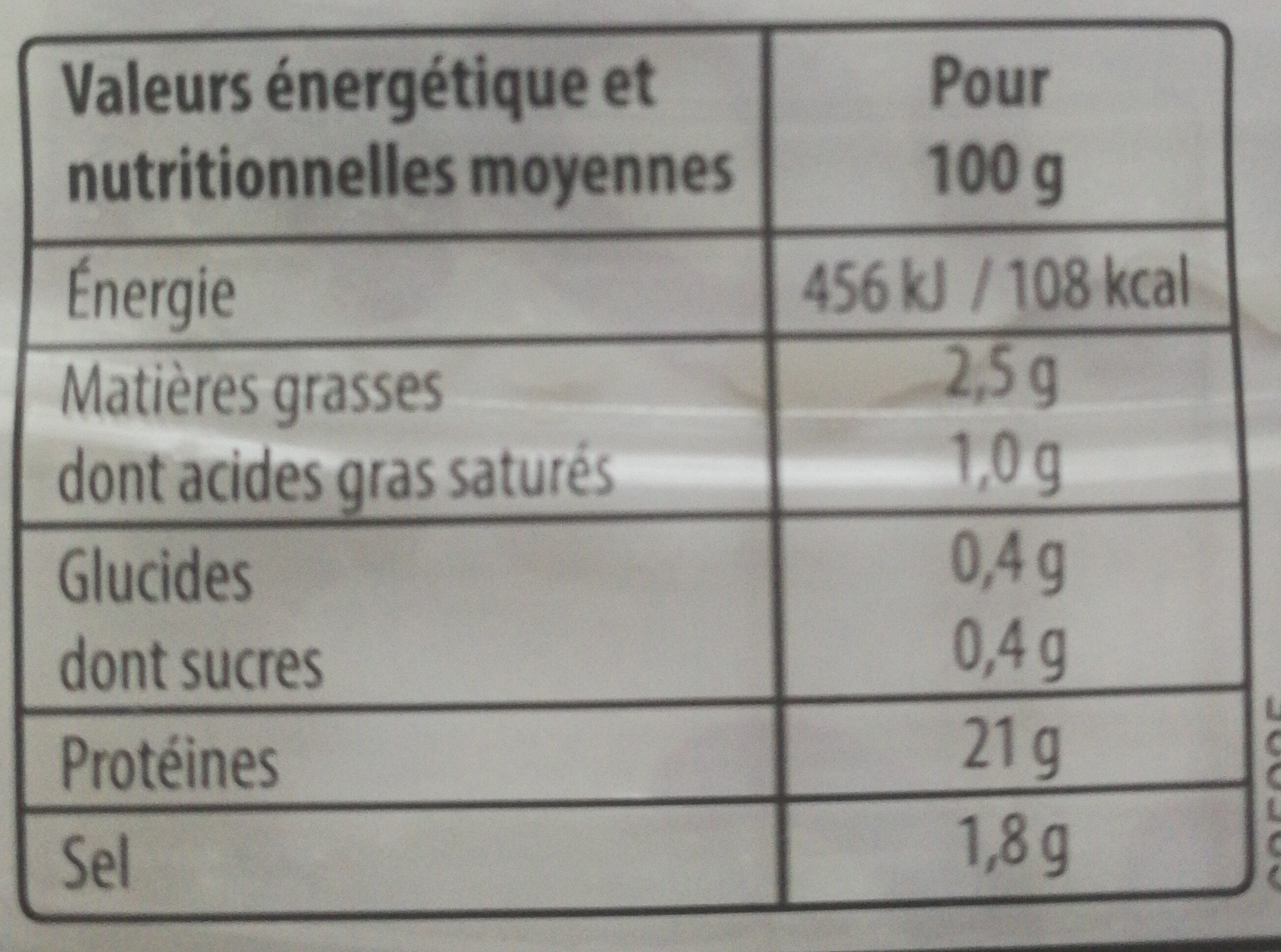 Mon Jambon Blanc VPF 4tr - Nutrition facts
