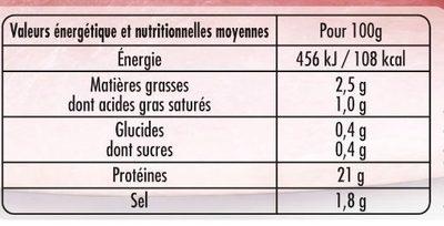 Mon Jambon Blanc 6 tr - Nutrition facts