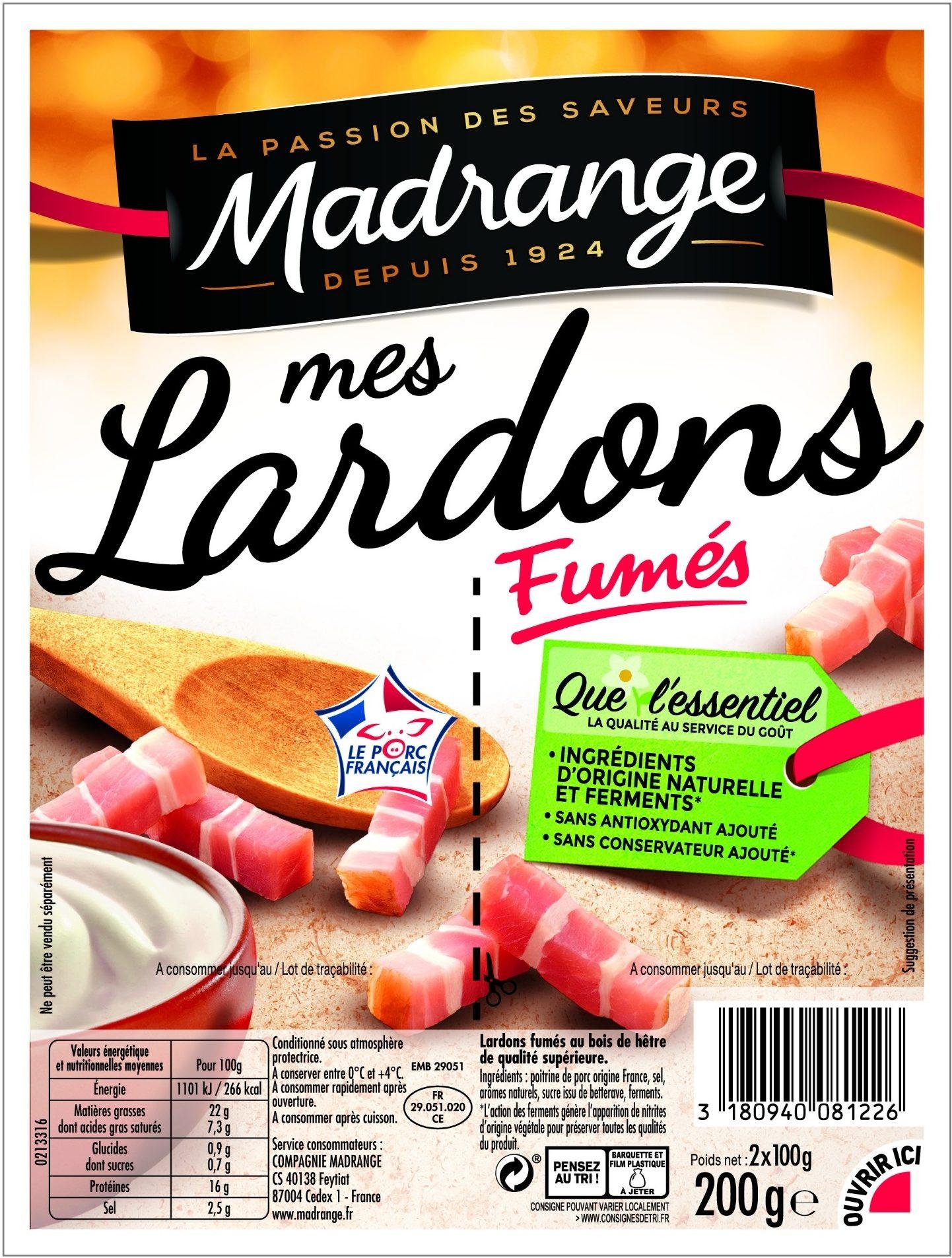 La Compagnie Du Hetre mes lardons fumés vpf - madrange - 200 g (2 x 100 g)