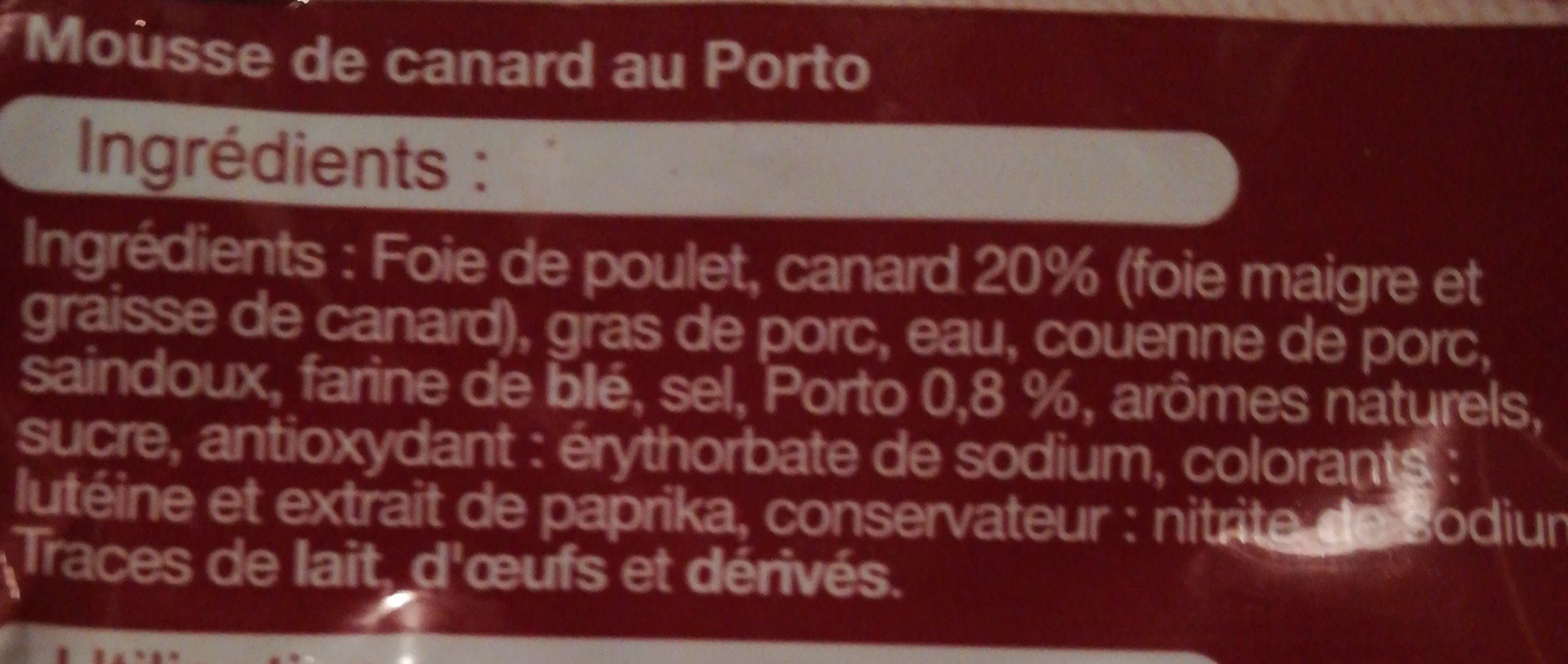 Mousse de canard au porto - Ingredients