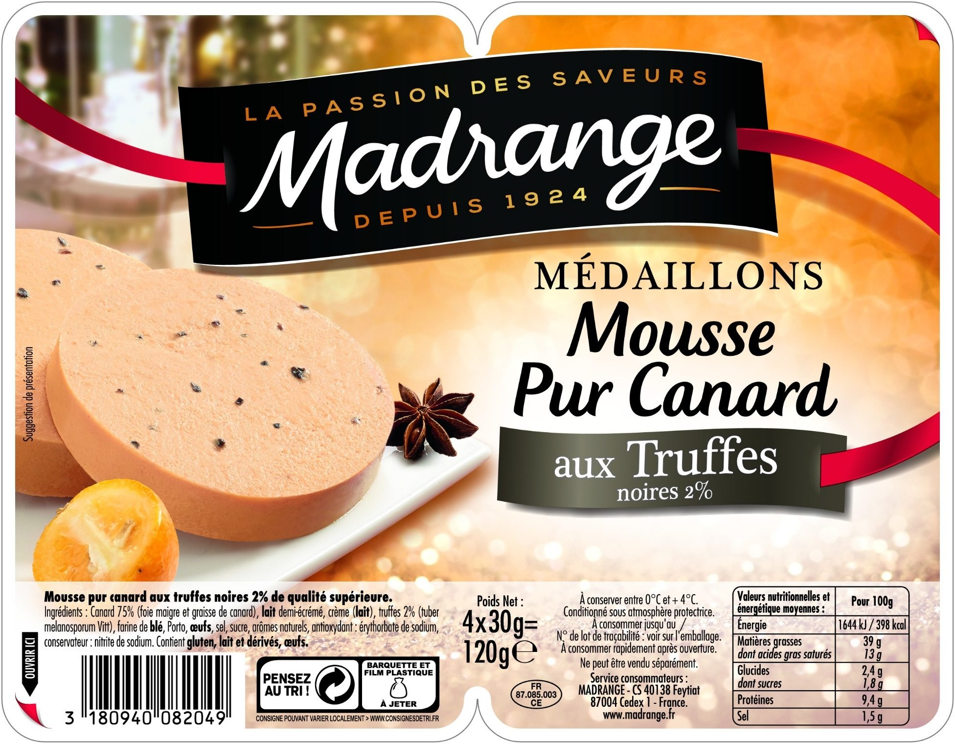 Médaillons Mousse Pur Canard aux Truffes noires - Produit