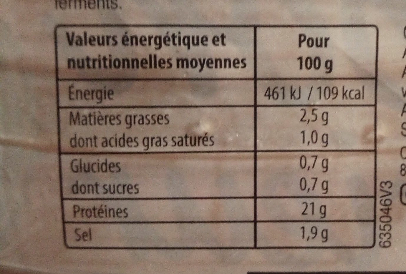 Jambon - Nutrition facts - fr