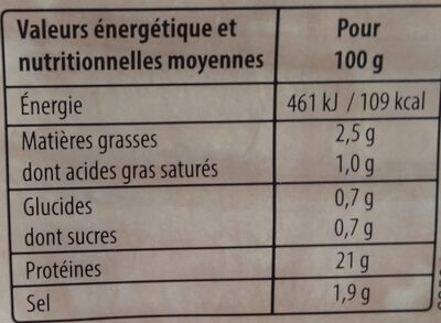 Mon Jambon Supérieur à l'étouffée VPF 4tr - Nutrition facts - fr