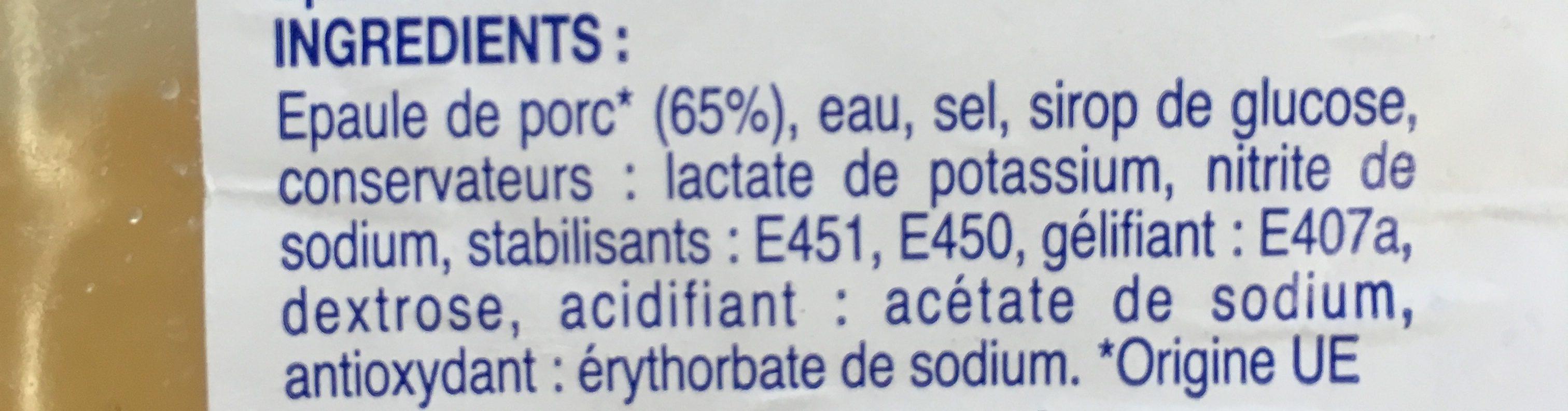Epaule cuite découennée et dégraissée - Ingrédients - fr
