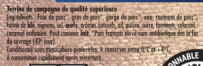Terrine de campagne dorée au four VPF - Ingrédients - fr