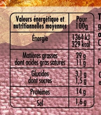 Terrine de campagne dorée au four VPF - Nutrition facts
