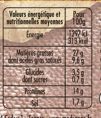 Terrine de campagne dorée au four VPF - Informations nutritionnelles - fr