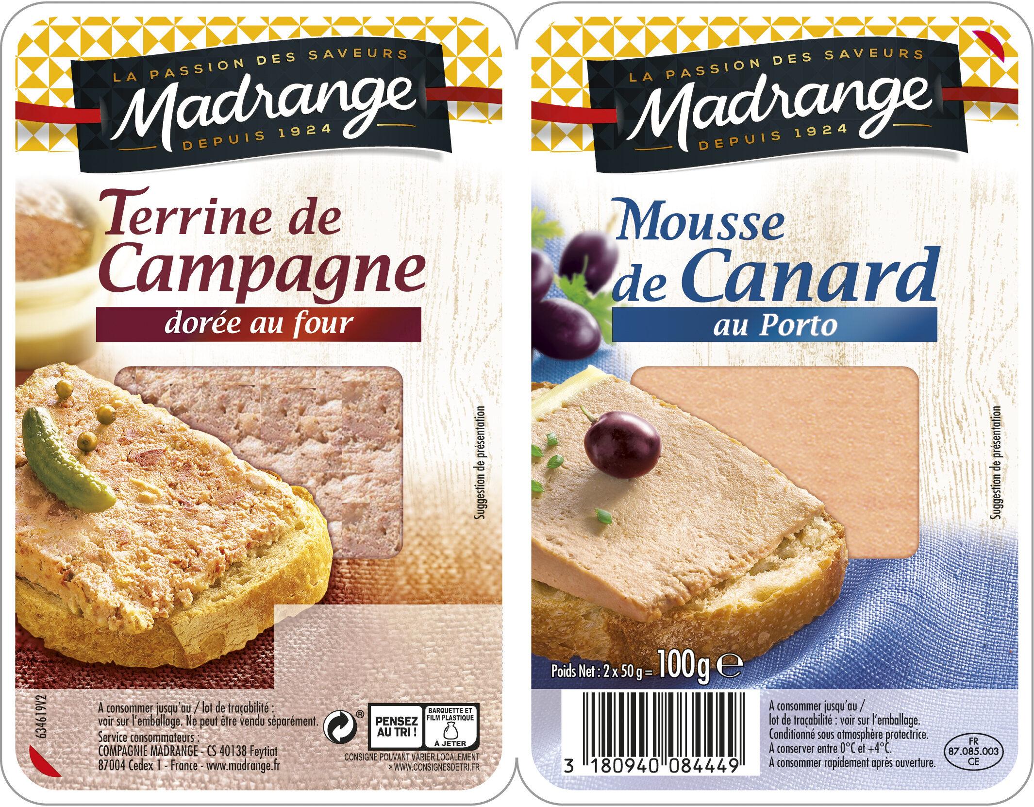 Terrine de campagne / Mousse de canard au Porto - Produit - fr