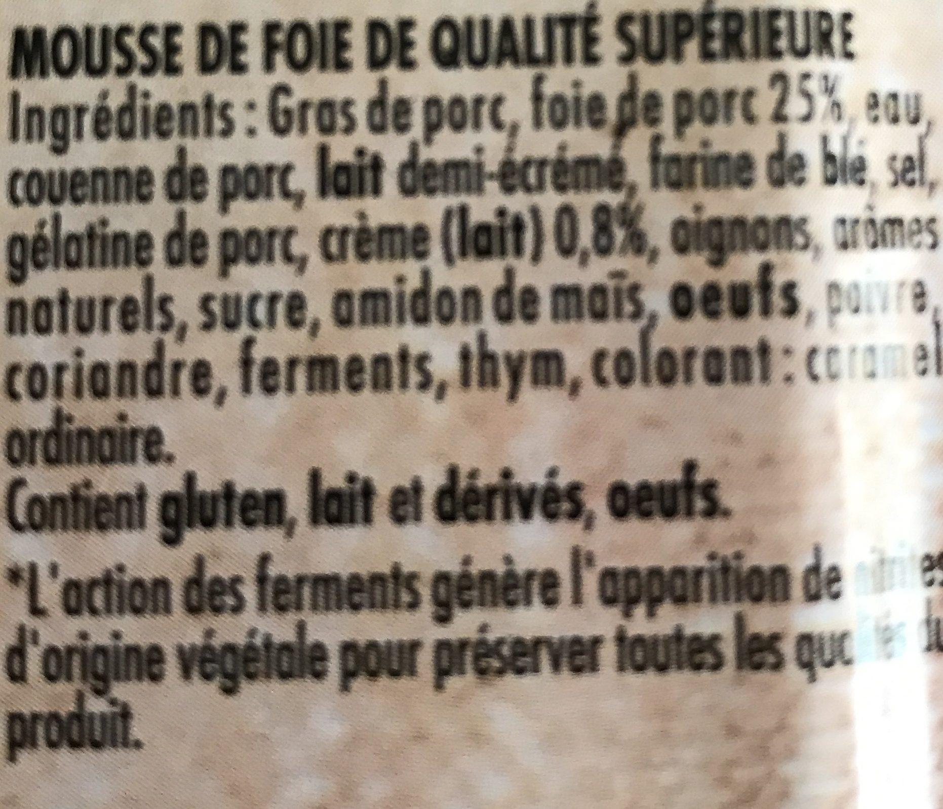 Terrine de Campagne et Mousse de Foie - Ingredients - fr