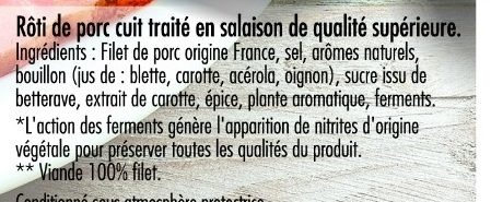 Mon Rôti de porc 100% filet** 4tr VPF - Ingredients