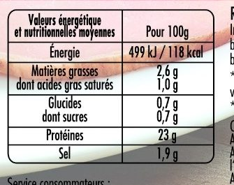 Mon Rôti de porc 100% filet** 4tr VPF - Nutrition facts