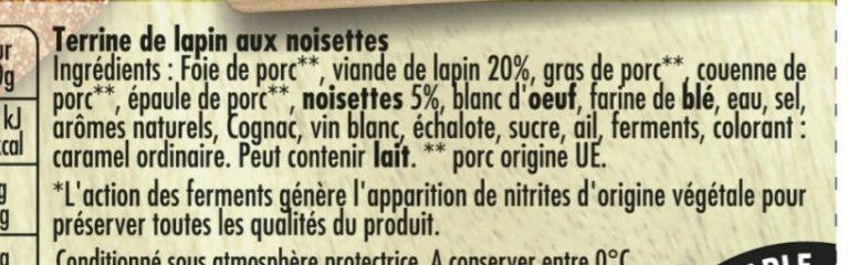 Terrine de lapin aux noisettes - Ingrédients - fr