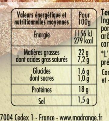 Terrine de lapin aux noisettes - Informations nutritionnelles - fr
