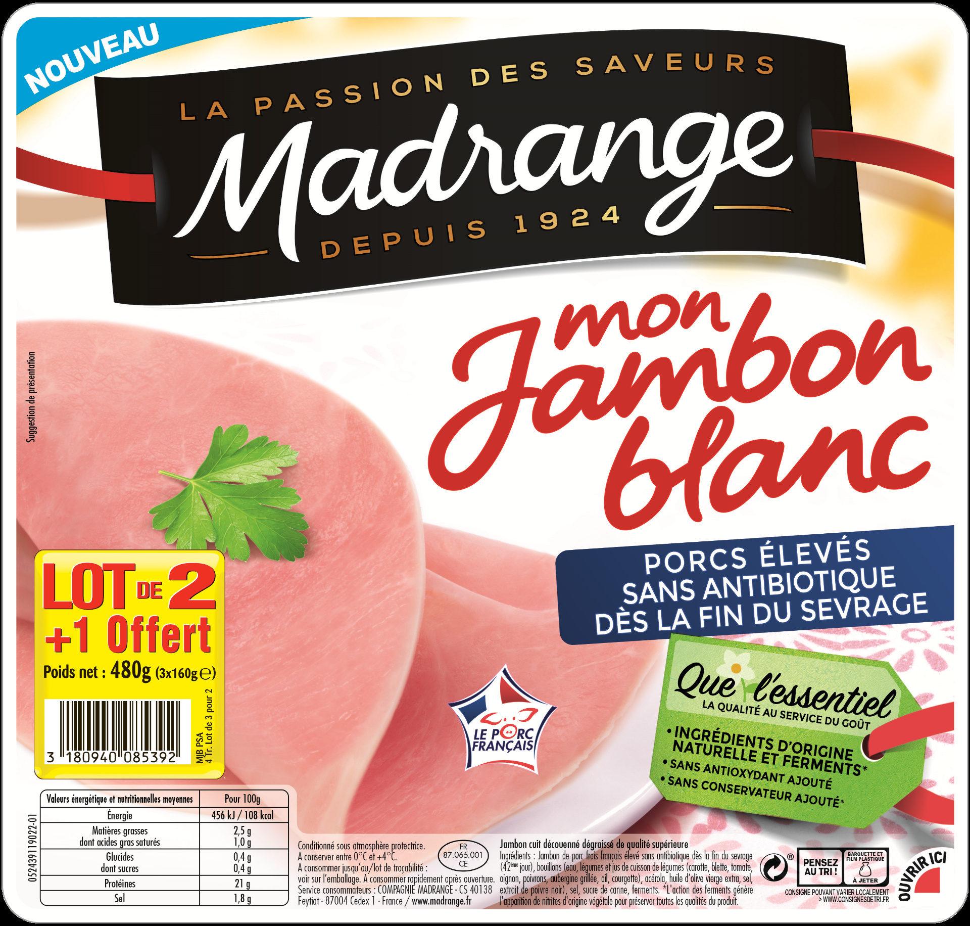 Jambon blanc porcs élevés sans antibiotique dès la fin du sevrage - lot 2+1 offert - Product - fr