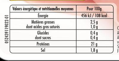 Jambon blanc porcs élevés sans antibiotique dès la fin du sevrage - lot 2+1 offert - Nutrition facts - fr