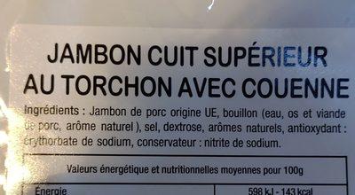 Jambon Cuit Supérieur au torchon avec couenne - Ingrédients
