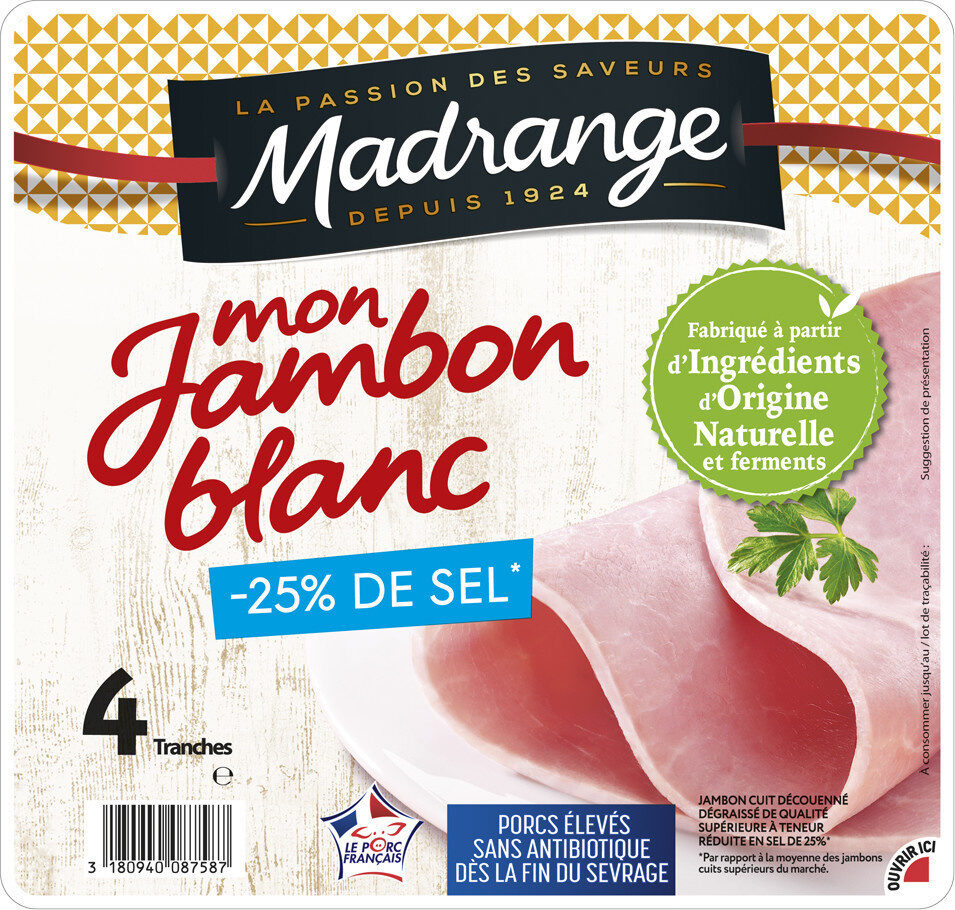Mon Jambon blanc -25% de sel* - Product - fr