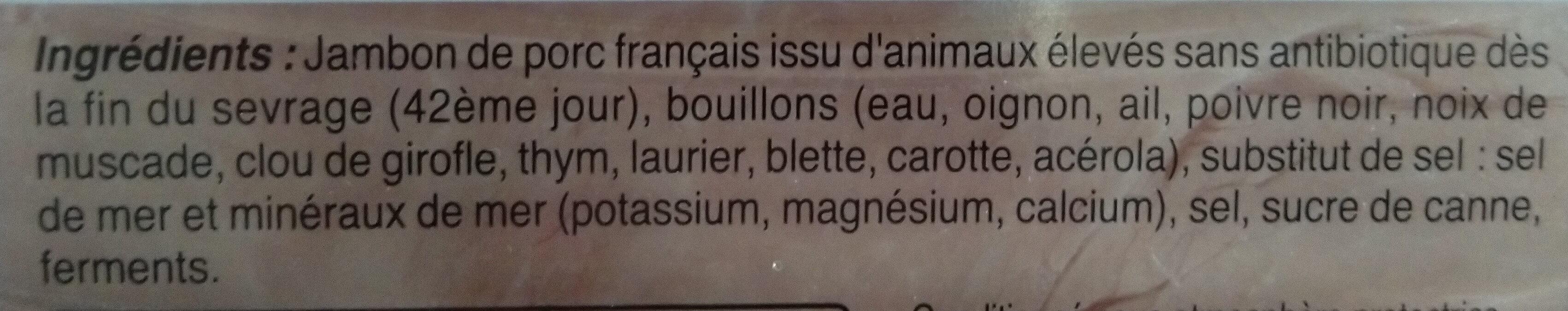 Mon Jambon blanc -25% de sel* - Ingrediënten - fr