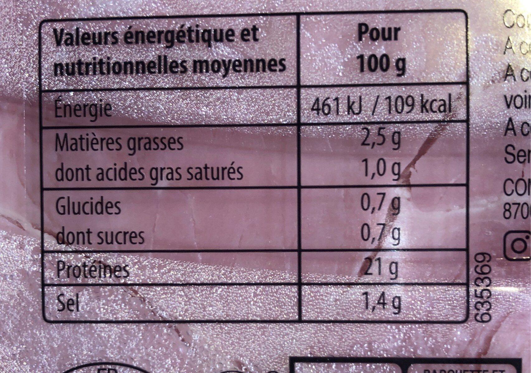 Mon Jambon blanc -25% de sel* - Voedingswaarden - fr