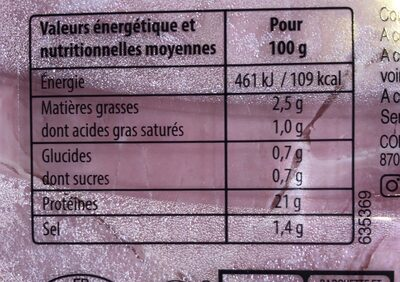 Jambon blanc - Nutrition facts - fr