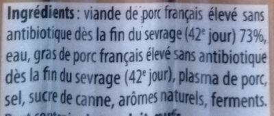 Mes Knacks 100% pur porc - Ingredients - fr