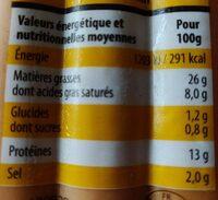 Knacks 100% Pur Porc - Nutrition facts - fr