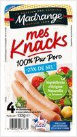 Mes knacks 100% pur porc -25% sel - Produit