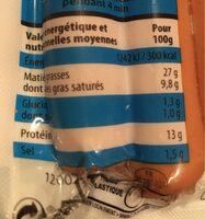 Mes knacks 100% pur porc -25% sel - Informations nutritionnelles