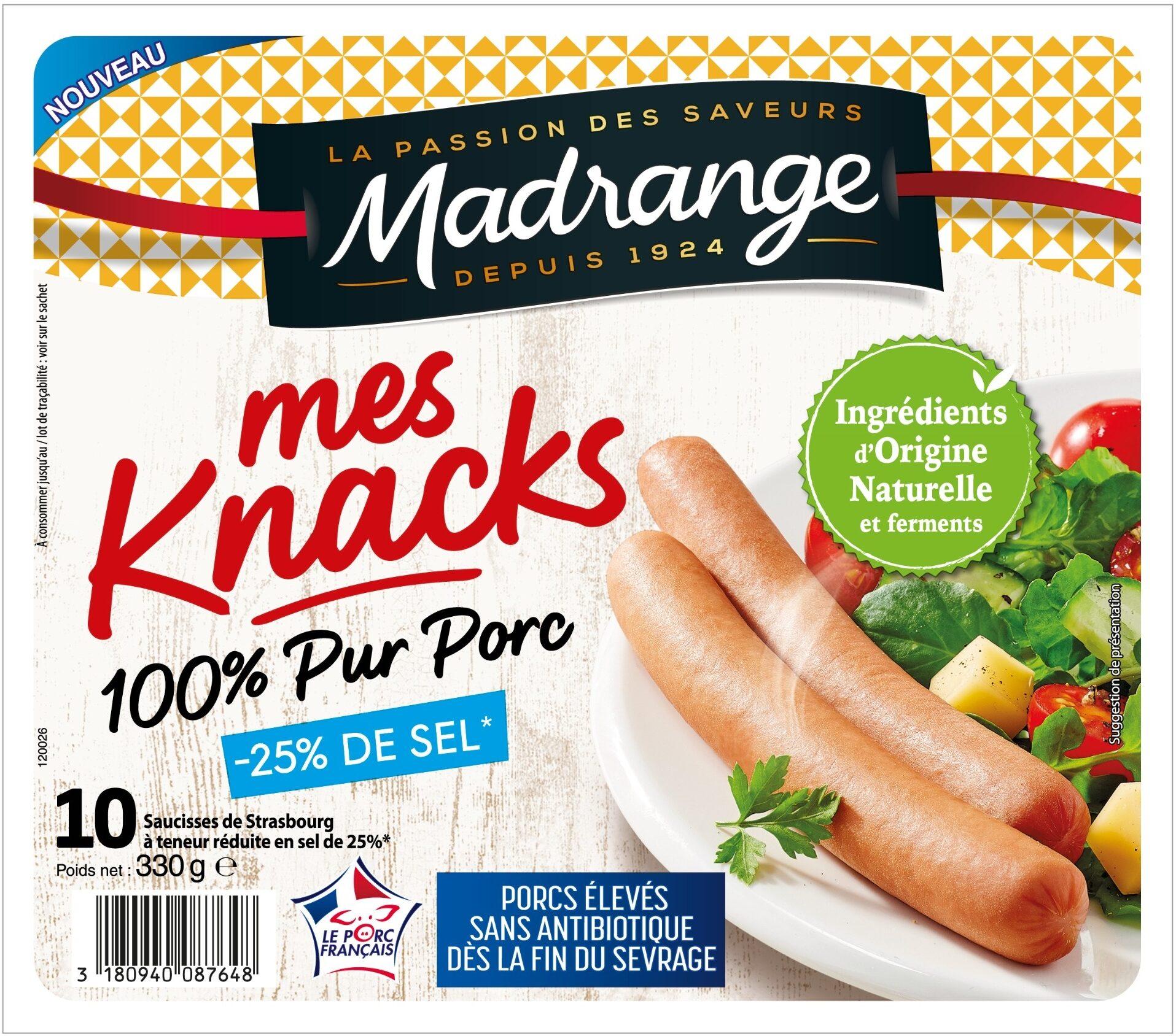 Mes Knacks 100% Pur Porc -25% DE SEL - Product - fr
