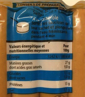 Mes Knacks 100% Pur Porc -25% DE SEL - Nutrition facts - fr