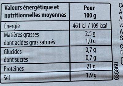Mon Jambon + sans couenne - Nutrition facts - fr