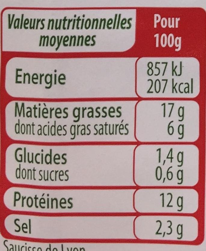Les Assiettes d'Alsace Saucisse de Lyon (Sel -25%) - Nutrition facts