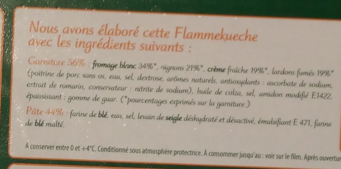 La Maxi Flammekueche Lardons & Oignons - Ingrédients