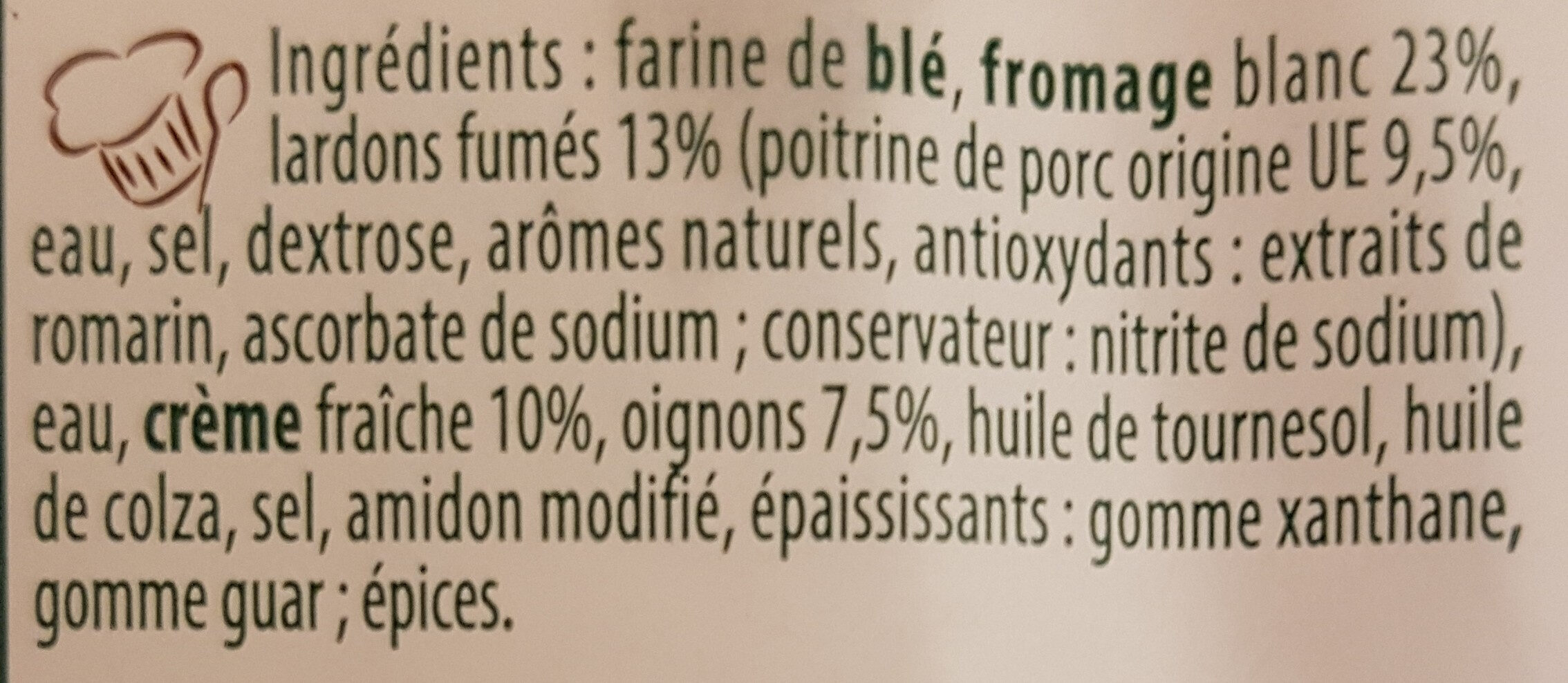 Flammekueche Lardons - Oignons - Ingrédients - fr