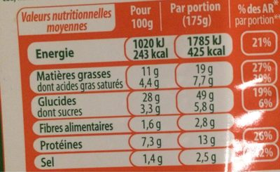 Stoeffler Flammekueche lardons oignons les 3 Flammekueches de 350 g - Informations nutritionnelles - fr