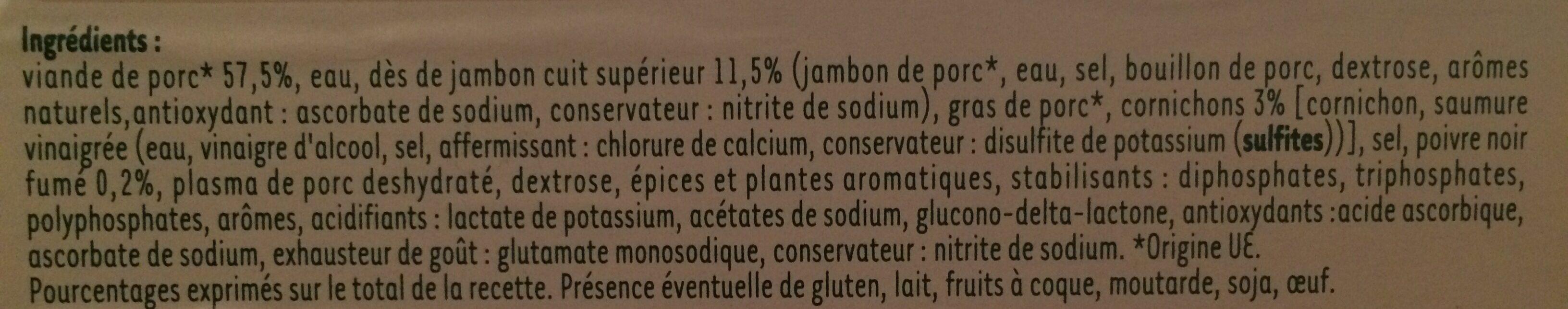Les creations gourmandes poivre, jambon et cornichon 12 trs - Ingredients