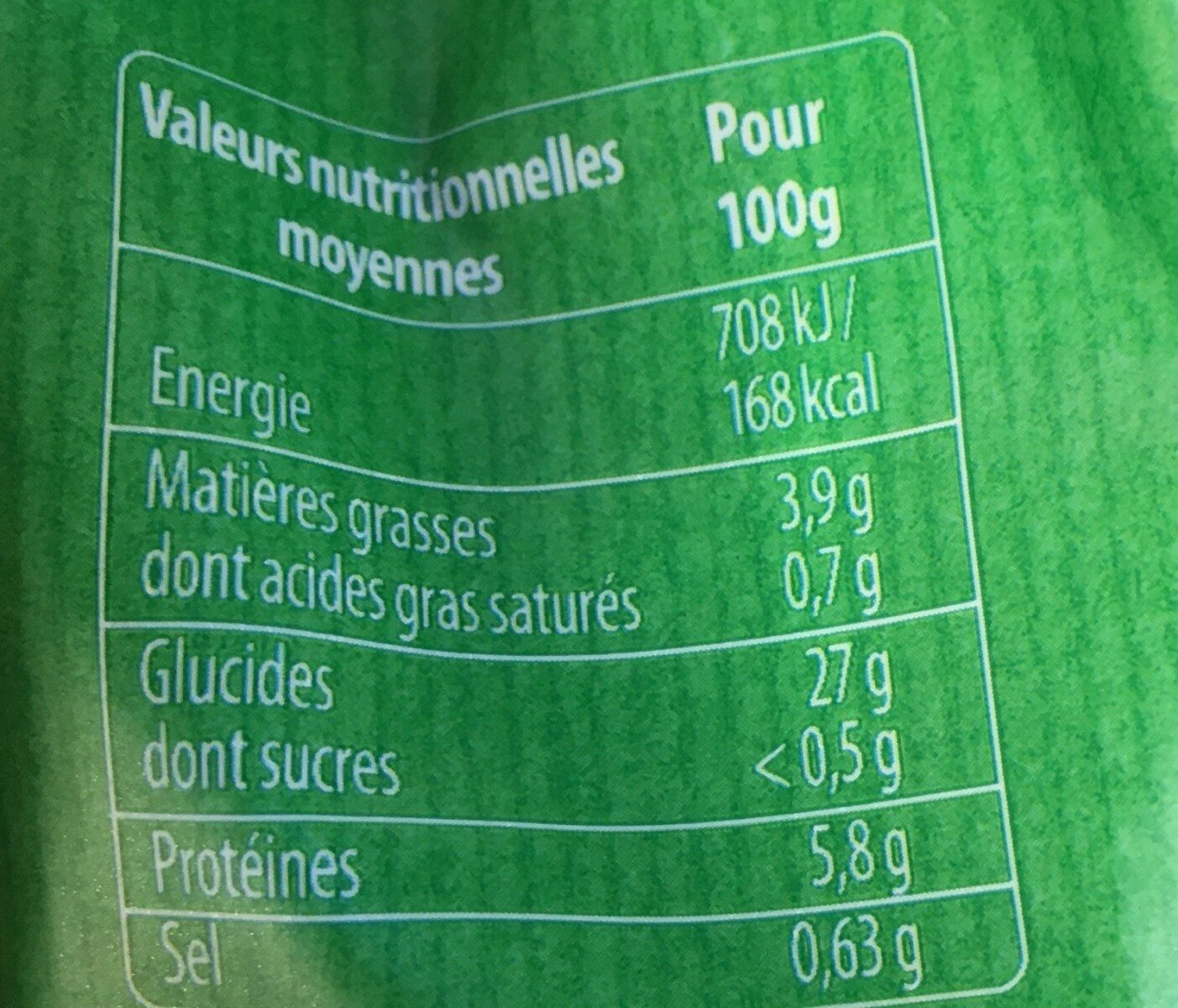 Spaetzle à poêler - Informations nutritionnelles - fr