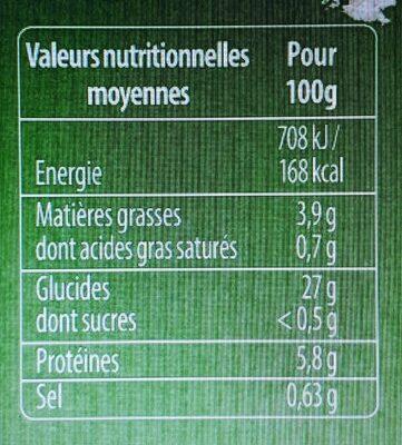 Spaetzle à poêler 500g + 30% - Voedingswaarden - fr