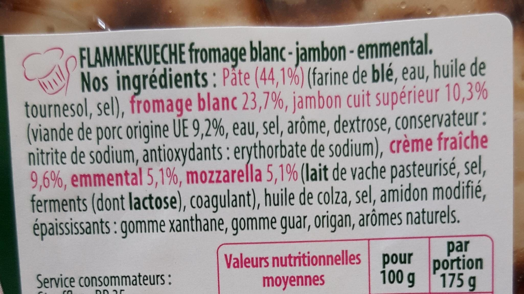 Les idées Flamm jambon emmental - Inhaltsstoffe - fr